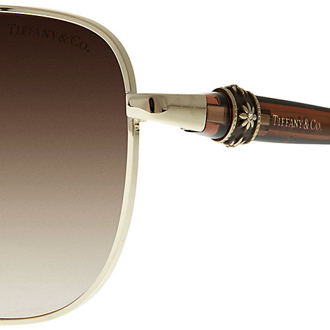 Buy Tiffany & Co TF3036 Daisy Bangle Aviator Sunglasses, Pale Gold Online at johnlewis.com