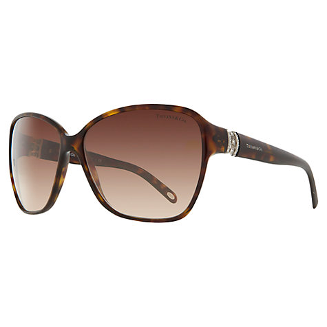 Buy Tiffany & Co TF4070B Oversized Square Jewelled Hinge Sunglasses, Tortoiseshell Online at johnlewis.com