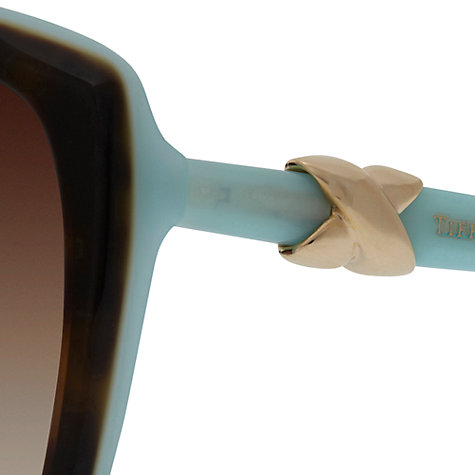 Buy Tiffany & Co Womens TF4076 Oversize Square Two-Tone Sunglasses, Havana/Blue Online at johnlewis.com
