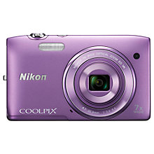 "Buy Nikon Coolpix S3500 Digital Camera, HD 720p, 20.1MP, 7x Optical Zoom, 2.7"" LCD Screen with 16GB + 8GB Memory Card Online at johnlewis.com"