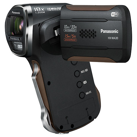 "Buy Panasonic HX-WA30 Camcorder, HD 1080p, 16.4MP, 5x Optical Zoom, Wi-Fi, 2.6"" LCD Screen Online at johnlewis.com"