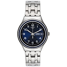 Buy Swatch YGS765G Men's Blue Influence Stainless Steel Watch, Silver Online at johnlewis.com