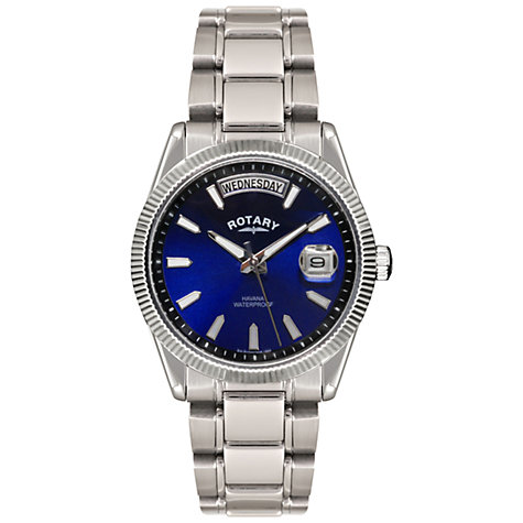 Buy Rotary GB02660/05 Men's Havana Day And Date Stainless Steel Watch, Silver / Blue Online at johnlewis.com