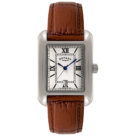Buy Rotary GS02650/01 Men's Rectangle Leather Strap Watch, Brown Online at johnlewis.com