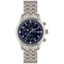 Buy Rotary GB02680/05 Men's Stainless Steel Chronograph Watch, Silver / Blue Online at johnlewis.com