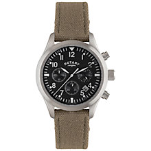 Buy Rotary GS02680/19 Men's Canvas Strap Watch, Brown Online at johnlewis.com