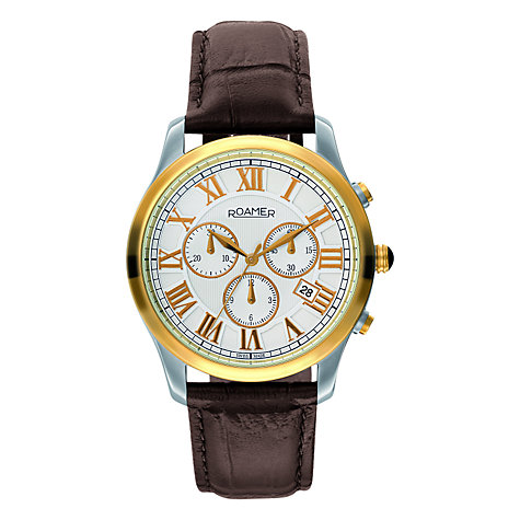 Buy Roamer Osiris Chrono 530837 47 12 05 Men's Leather Strap Watch, Brown / Gold Online at johnlewis.com