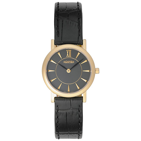 Buy Roamer Limelight 934857 48 55 09 Women's Leather Strap Watch, Gold / Black Online at johnlewis.com