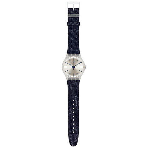Buy Swatch SUOK103 White Washed Out Watch, Denim Online at johnlewis.com
