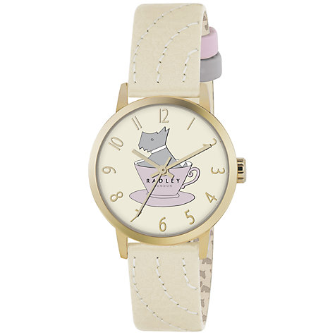 Buy Radley RY2112 Women's Dog in a Teacup Leather Strap Watch, Gold / White Online at johnlewis.com