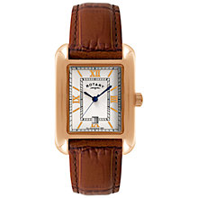 Buy Rotary GS02651/09 Men's Rectangle Leather Strap Watch, Gold / Brown Online at johnlewis.com