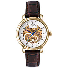Buy Rotary GS90506/06 Men's Jura Skeleton Dial Automatic Watch, Gold / Brown Online at johnlewis.com