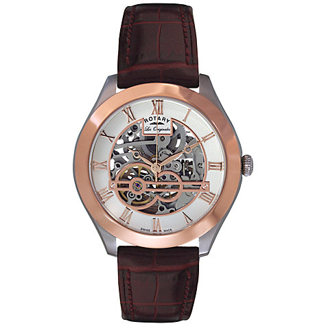 Buy Rotary GS90511/21 Men's Jura Skeleton Dial Automatic Watch, Rose Gold / Silver Online at johnlewis.com