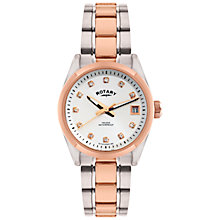 Buy Rotary LB02662/02 Women's Two Tone Crystal Dial Watch, Silver / Rose Gold Online at johnlewis.com