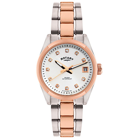 Buy Rotary LB02662/02 Women's Two-Tone Crystal Dial Bracelet Strap Watch, Silver/Rose Gold Online at johnlewis.com