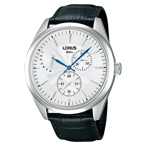Buy Lorus RP835AX9 Men's Stainless Steel Guilloche Dial Watch, Black / Silver Online at johnlewis.com