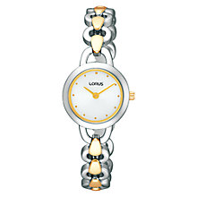 Buy Lorus RRW75DX9 Women's Slim-Line Chain Strap Watch, Silver / Gold Online at johnlewis.com