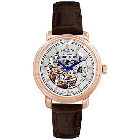 Buy Rotary GS90505/06 Men's Jura Skeleton Dial Automatic Watch, Rose Gold / Brown Online at johnlewis.com