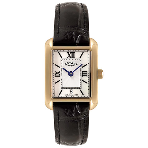 Buy Rotary LS02651/41 Women's Mother of Pearl Leather Strap Watch, Gold / Black Online at johnlewis.com