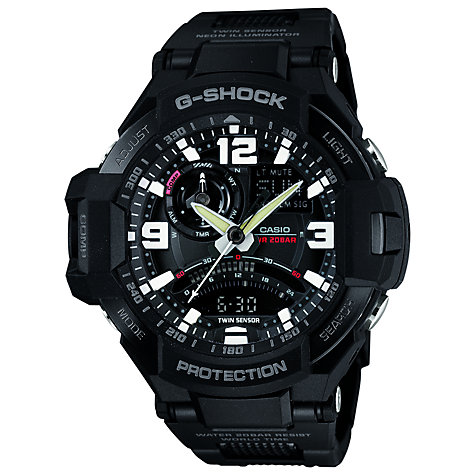 Buy Casio GA-1000FC-1AER Men's G-Shock Premium Sky Cockpit Alarm Chronograph Watch, Black Online at johnlewis.com