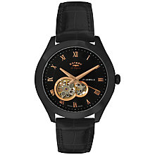 Buy Rotary GS90513/10 Men's Jura Automatic Skeleton Window Automatic Watch, Black / Gold Online at johnlewis.com