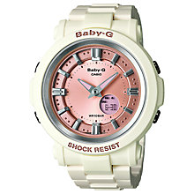 Buy Casio BGA-300-7A2ER Women's Baby-G Resin Alarm Watch, Pink / White Online at johnlewis.com