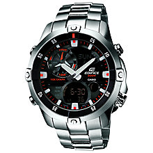Buy Casio EMA-100D-1A1VEF Men's Edifice Stainless Steel Watch, Silver Online at johnlewis.com