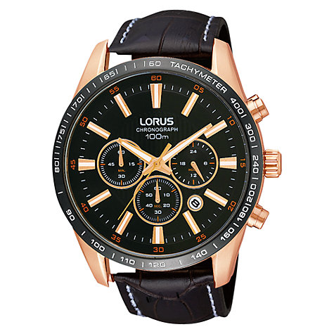 Buy Lorus RT350CX9 Men's PVD Chronograph Leather Strap Watch, Rose Gold / Brown Online at johnlewis.com