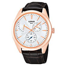 Buy Lorus RP842AX9 Men's Stainless Steel Guilloche Dial Watch, Brown / Rose Gold Online at johnlewis.com