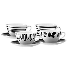Buy LSA Jazz Teacup & Saucer, Set of 4, Black Online at johnlewis.com