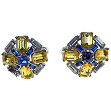 Buy Alice Joseph Vintage 1960s Trifari Baguette Stone Clip Earrings, Blue / Lemon Online at johnlewis.com