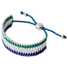 Buy Links of London Woven Cuff Silver Friendship Bracelet, Navy / Teal Online at johnlewis.com