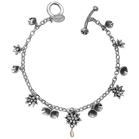 Buy Linda Macdonald Lily Pond Sterling Silver Charm Bracelet, Silver / Gold Online at johnlewis.com