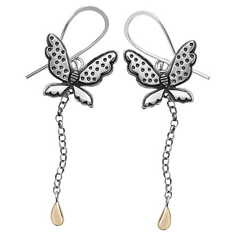 Buy Linda Macdonald Enchanted Silver and Gold Butterfly Drop Earrings Online at johnlewis.com