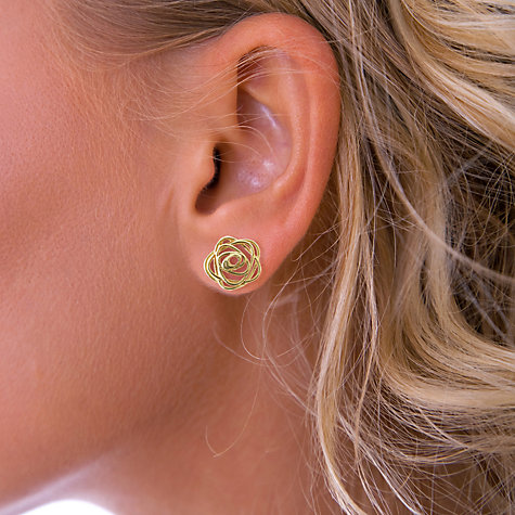 Buy Nina B 9ct Yellow Gold Open Rose Stud Earrings Online at johnlewis.com