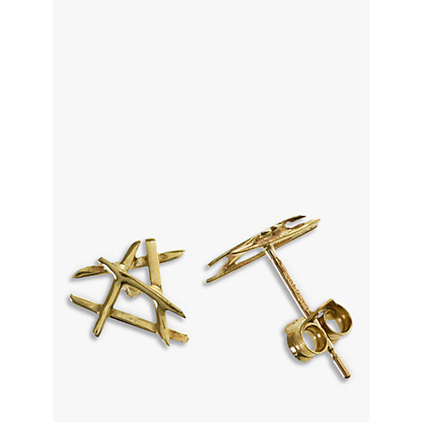 Buy Nina B 9ct Yellow Gold Cross Bars Stud Earrings Online at johnlewis.com