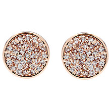 Buy Finesse Round Crystal Stud Earrings, Rose Gold Online at johnlewis.com
