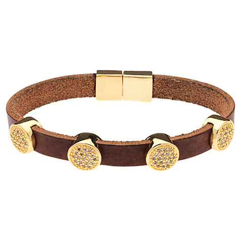 Buy Finesse Gold Plated Crystal Leather Bracelet, Brown Online at johnlewis.com