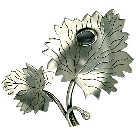 Buy Sharon Mills 1950s Double Leaf Chalcedony Brooch, Silver Online at johnlewis.com