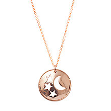 Buy London Road Portobello Starry Night 9ct Rose Gold Moon and Stars Disc Pendant Online at johnlewis.com
