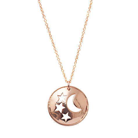 Buy London Road Portobello Starry Night 9ct Gold Moon and Stars Disc Pendant Online at johnlewis.com