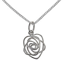 Buy Nina B Sterling Silver Open Rose Pendant Online at johnlewis.com