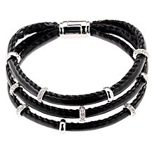 Buy Finesse Swarovski Station Cord Bracelet, Black Online at johnlewis.com