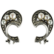 Buy Sharon Mills 1950s Marcasite and Pearl Swirl Earrings, Silver Online at johnlewis.com