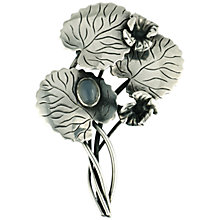 Buy Sharon Mills 1950s Lilypad Chalcedony Brooch, Silver Online at johnlewis.com
