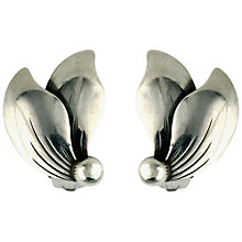 Buy Sharon Mills Vintage 1950s Sterling Silver Double Leaf Stud Earrings Online at johnlewis.com