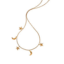 Buy London Road 9ct Gold Portobello Starry Night Moon and Star Charm Necklace, Rose Gold Online at johnlewis.com