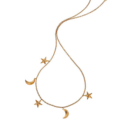 Buy London Road Portobello Starry Night 9ct Gold Moon and Star Charm Necklace Online at johnlewis.com