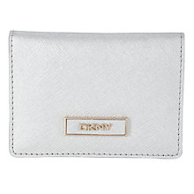Buy DKNY Saffiano Leather Card Holder, Silver Online at johnlewis.com