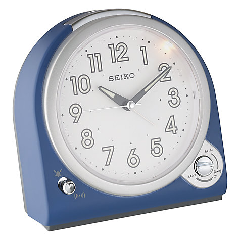 Buy Seiko Volume Control Alarm Clock, Blue Online at johnlewis.com